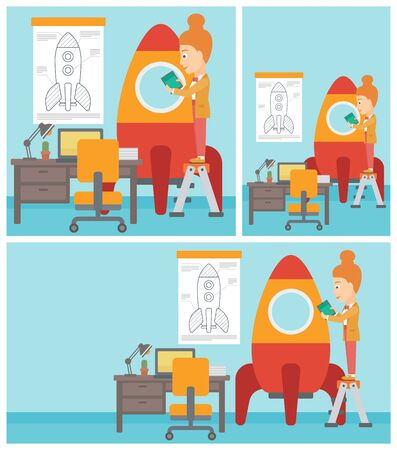 engeneering: A woman standing on ladder and engeneering a rocket. Woman working on the start up of a new business. Business start up concept. Vector flat design illustration. Square, horizontal, vertical layouts.