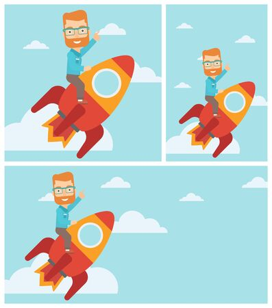 forefinger: Hipster businessman flying on the business start up rocket and pointing his forefinger up. Successful business start up concept. Vector flat design illustration. Square, horizontal, vertical layouts. Illustration