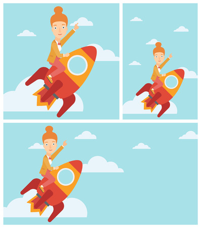 woman pointing up: Young business woman flying on the business start up rocket and pointing forefinger up. Successful business start up concept. Vector flat design illustration. Square, horizontal, vertical layouts.
