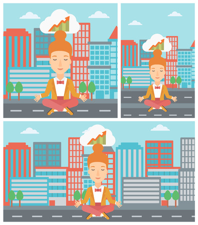 lotus pose: Peaceful business woman with eyes closed doing yoga and meditating in lotus pose outdoors and thinking about the growth graph. Vector flat design illustration. Square, horizontal, vertical layouts. Illustration
