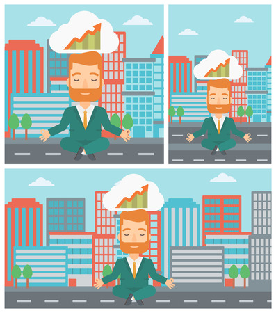 lotus pose: Peaceful hipster businessman with eyes closed doing yoga and meditating in lotus pose outdoor and thinking about the growth graph.Vector flat design illustration. Square, horizontal, vertical layouts. Illustration
