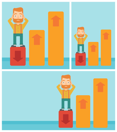 market bottom: A frightened hipster bankrupt clutching his head. Bankrupt standing on chart going down. Concept of business bankruptcy. Vector flat design illustration. Square, horizontal, vertical layouts. Illustration