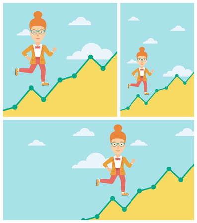 moving up: Cheerful business woman running along the growth graph. Businesswoman going up. Woman moving up. Successful business concept. Vector flat design illustration. Square, horizontal, vertical layouts.