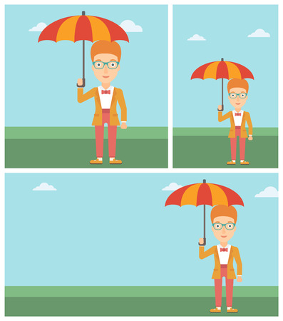 businesswoman standing: Businesswoman standing with open umbrella on the background of blue sky. A woman under open umbrella. Happy woman with umbrella. Vector flat design illustration. Square, horizontal, vertical layouts.