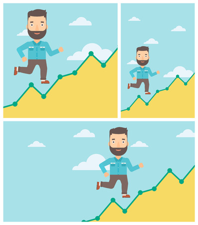 going up: Cheerful hipster businessman with the beard running along the growth graph. Businessman going up. Successful business concept. Vector flat design illustration. Square, horizontal, vertical layouts. Illustration