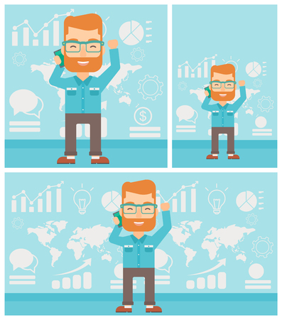 good news: Hipster businessman getting good news on mobile phone on the background of growth charts and map. Business success concept. Vector flat design illustration. Square, horizontal, vertical layouts.