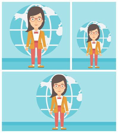 business woman standing: Business woman standing on a background of Earth globe. Business woman taking part in global business. Global business concept. Vector flat design illustration. Square, horizontal, vertical layouts. Illustration