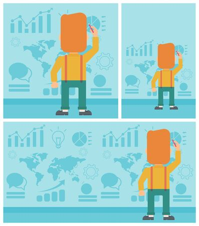 spokesperson: Rear view of businessman drawing on a wall with many charts and maps. Man giving a business presentation. Vector flat design illustration. Square, horizontal, vertical layouts. Illustration