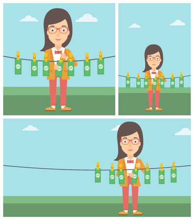 counterfeit: Young business woman drying banknotes on the clothesline on the background of blue sky. Woman loundering money. Vector flat design illustration. Square, horizontal, vertical layouts.