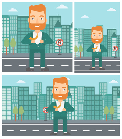 undress: A hipster businessman with the beard opening his jacket like superhero on the background of modern city. Businessman superhero. Vector flat design illustration. Square, horizontal, vertical layouts.
