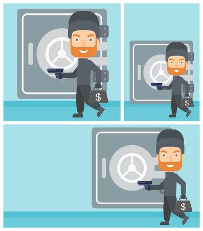 hand gun: Professional burglar in mask near the big safe door. Burglar holding hand gun and a bag with dollar sign. Thief stealing money. Vector flat design illustration. Square, horizontal, vertical layouts.