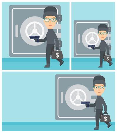 burglary: Professional burglar in mask near the big safe door. Burglar holding hand gun and a bag with dollar sign. Thief stealing money. Vector flat design illustration. Square, horizontal, vertical layouts.