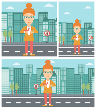 undress: Young business woman opening her jacket like superhero on the background of modern city. Business woman superhero. Vector flat design illustration. Square, horizontal, vertical layouts. Illustration