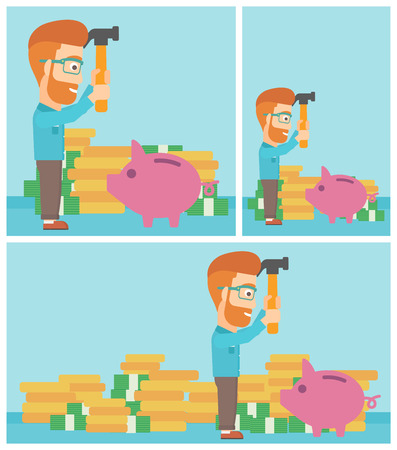 desperation: Hipster businessman with the beard breaking piggy bank on a blue background with stacks of coins. Concept of business bankruptcy. Vector flat design illustration. Square, horizontal, vertical layouts.