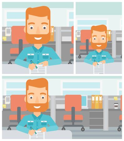 signing: Businessman signing business documents in office. Man is about to sign a business agrement. Confirmation of business transaction. Vector flat design illustration. Square, horizontal, vertical layouts.
