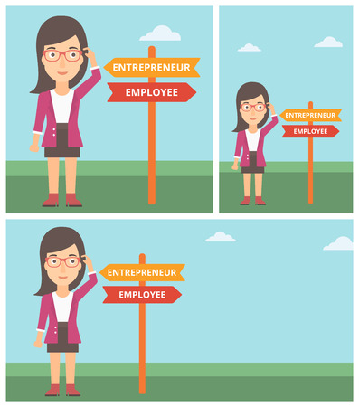 pathways: Young woman standing at road sign with two career pathways. Woman making a decision of her career pathway. Vector flat design illustration. Square, horizontal, vertical layouts.