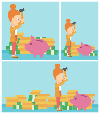 desperation: Young business woman breaking piggy bank on a blue background with stacks of coins. Concept of business bankruptcy. Vector flat design illustration. Square, horizontal, vertical layouts.