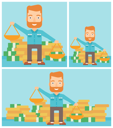 exceed: Young hipster businessman with the beard holding scales in hands on a blue background with stacks of coins. Vector flat design illustration. Square, horizontal, vertical layouts.