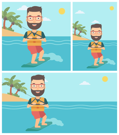 wakeboarding: A hipster sportsman wakeboarding on the sea. Wakeboarder making tricks. Man studying wakeboarding. Young man riding wakeboard. Vector flat design illustration. Square, horizontal, vertical layouts.