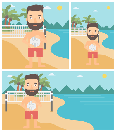 sportive: Young sportsman holding volleyball ball in hands. Sportive beach volleyball player standing at the shore with voleyball net. Vector flat design illustration. Square, horizontal, vertical layouts.
