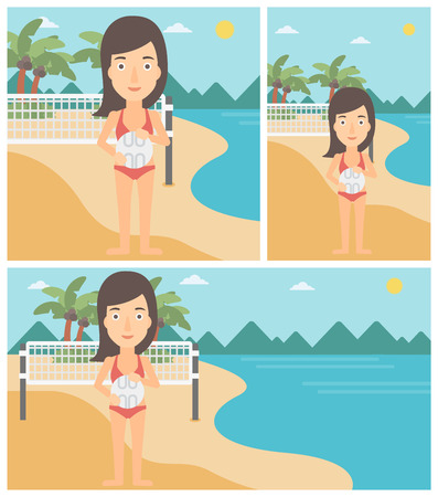 shore: Young sports woman holding volleyball ball in hands. Sportive beach volleyball player standing at the shore with voleyball net. Vector flat design illustration. Square, horizontal, vertical layouts. Illustration