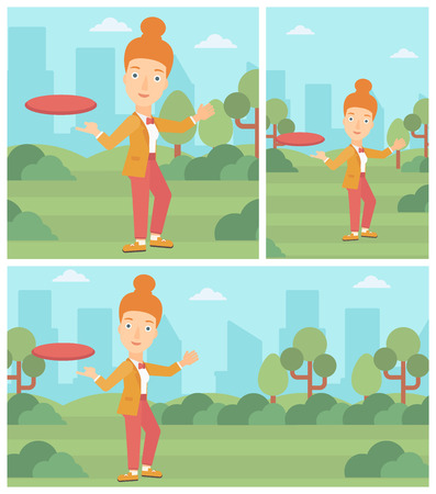 sportive: A sportive woman playing flying disc in the park. Young woman throwing a flying disc. Sportswoman catching flying disc outdoors. Vector flat design illustration. Square, horizontal, vertical layouts.