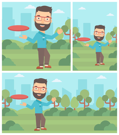 flying man: Hipster man with the beard playing flying disc in the park. Man throwing a flying disc. Sportsman catching flying disc outdoors. Vector flat design illustration. Square, horizontal, vertical layouts. Illustration
