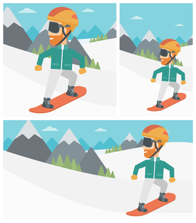 snow capped: A hipster man with the beard snowboarding on the background of snow capped mountain. Young man snowboarding in the mountains. Vector flat design illustration. Square, horizontal, vertical layouts.