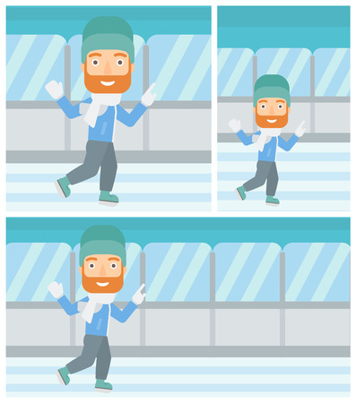 indoor sport: A hipster man with the beard ice skating on indoor ice skating rink. Sport and leisure concept. Vector flat design illustration. Square, horizontal, vertical layouts.