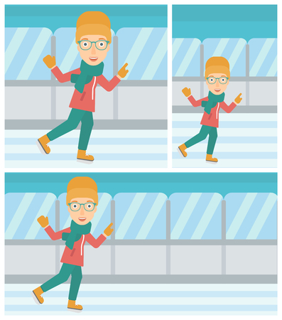 skating rink: Young woman ice skating on indoor ice skating rink. Sport and leisure concept. Vector flat design illustration. Square, horizontal, vertical layouts.