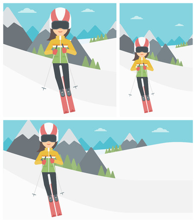 snow capped: Young woman skiing on the background of snow capped mountain. Skier skiing downhill in mountains. Female skier on downhill slope. Vector flat design illustration. Square, horizontal, vertical layouts. Illustration