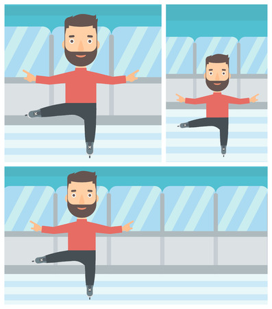 skating rink: Professional male figure skater with the beard performing on indoor ice skating rink. Young hipster male figure skater dancing. Vector flat design illustration. Square, horizontal, vertical layouts.