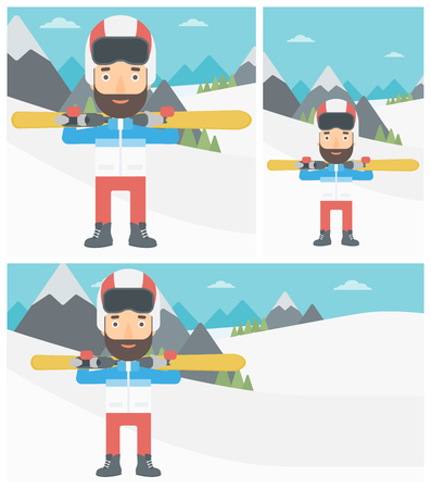 snow capped: Young hipster man with the beard carrying skis on his shoulders on the background of snow capped mountains. Vector flat design illustration. Square, horizontal, vertical layouts. Illustration