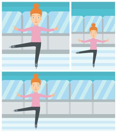 figure skater: Professional female figure skater performing on indoor ice skating rink. Young female figure skater dancing. Vector flat design illustration. Square, horizontal, vertical layouts. Illustration