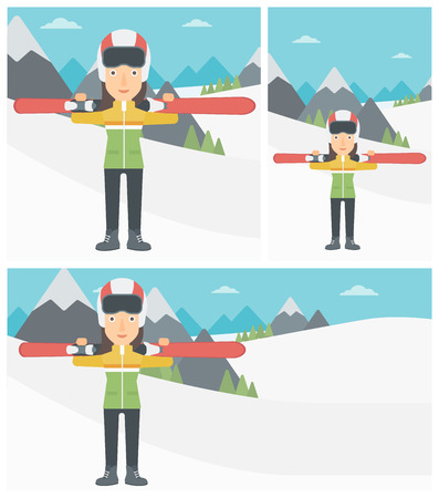 Young woman carrying skis on her shoulders on the background of snow capped mountains. Vector flat design illustration. Square, horizontal, vertical layouts.