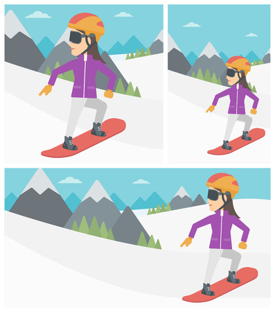 snow capped: Sportswoman snowboarding on the background of snow capped mountain. Woman snowboarding in the mountains. Snowboarder in action. Vector flat design illustration. Square, horizontal, vertical layouts.
