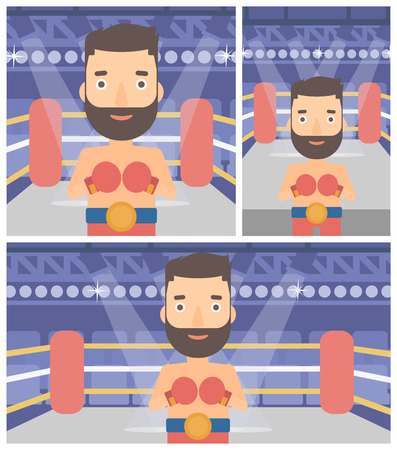 boxing ring: Young sportsman in boxing gloves. Professional male boxer standing in the boxing ring. Vector flat design illustration. Square, horizontal, vertical layouts.