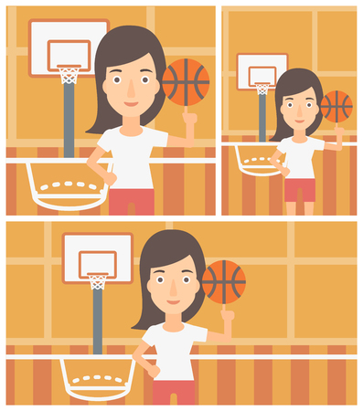 sportswoman: Professional sportswoman spinning basketball ball on her finger. Young basketball player standing on the basketball court. Vector flat design illustration. Square, horizontal, vertical layouts. Illustration