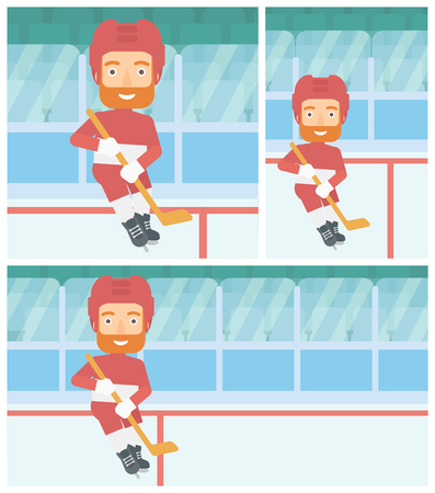 ice hockey player: Hipster ice hockey player with the beard skating on ice rink. Ice hockey player with a stick. Sportsman playing ice hockey. Vector flat design illustration. Square, horizontal, vertical layouts. Illustration