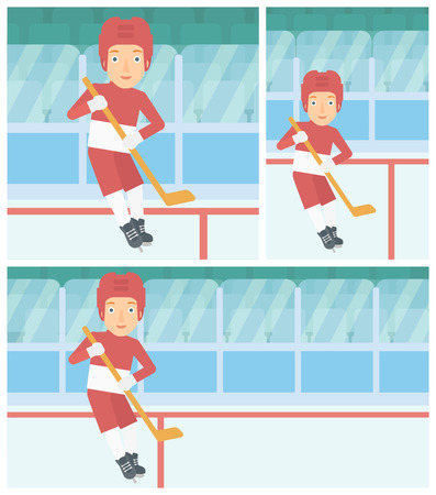 ice hockey player: Female ice hockey player skating on ice rink. Professional ice hockey player with a stick. Sportswoman playing ice hockey. Vector flat design illustration. Square, horizontal, vertical layouts.