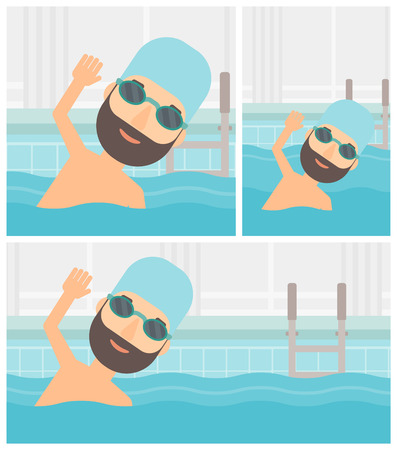 swimming cap: Young hipster sportsman with the beard wearing cap and glasses swimming in pool. Professional male swimmer in swimming pool. Vector flat design illustration. Square, horizontal, vertical layouts. Illustration