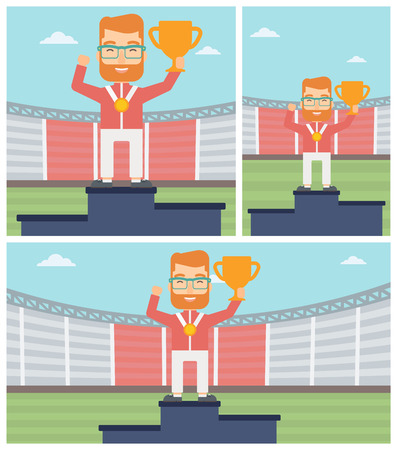 medalist: Sportsman celebrating on the winners podium. Man with gold medal and trophy cup standing on the winners podium. Winner concept. Vector flat design illustration. Square, horizontal, vertical layouts.