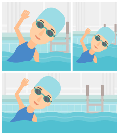 swimming glasses: Young sportswoman wearing cap and glasses swimming in pool. Professional female swimmer in swimming pool. Vector flat design illustration. Square, horizontal, vertical layouts.