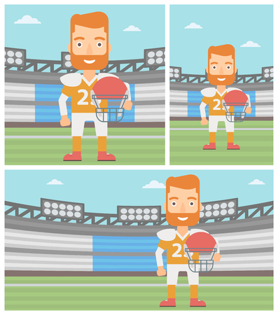 rugby field: A hipster rugby player with the beard holding ball and helmet in hands. Male rugby player in uniform standing on rugby stadium. Vector flat design illustration. Square, horizontal, vertical layouts.