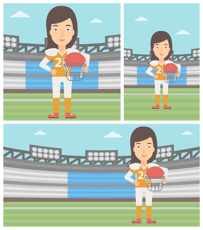 rugby field: Young professional rugby player holding ball and helmet in hands. Female rugby player in uniform standing on rugby stadium. Vector flat design illustration. Square, horizontal, vertical layouts.