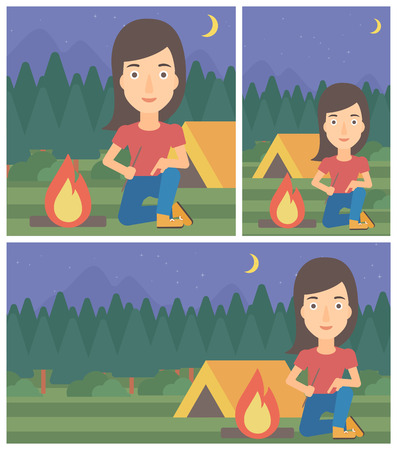 kindling: Woman kindling campfire on the background of camping site with tent. Tourist relaxing near campfire. Woman sitting near campfire. Vector flat design illustration. Square, horizontal, vertical layouts. Illustration