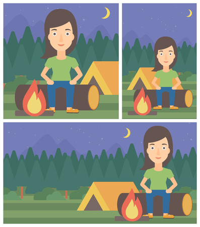 camping site: Woman sitting on a log near a fire on a background of camping site with tent. Young woman sitting near a campfire at a campsite. Vector flat design illustration. Square, horizontal, vertical layouts. Illustration