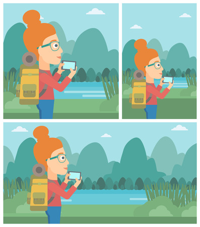 woman cellphone: Travelling woman taking photo of landscape with mountains. Young hiking woman with backpack taking photo with her cellphone. Vector flat design illustration. Square, horizontal, vertical layouts.