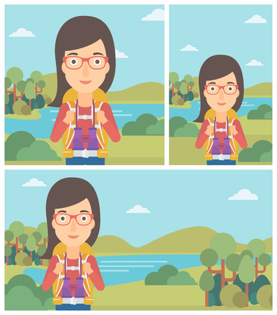 woman hiking: Young woman with backpack walking in the mountains. Female backpacker with binoculars. Female traveler hiking in mountains. Vector flat design illustration. Square, horizontal, vertical layouts.