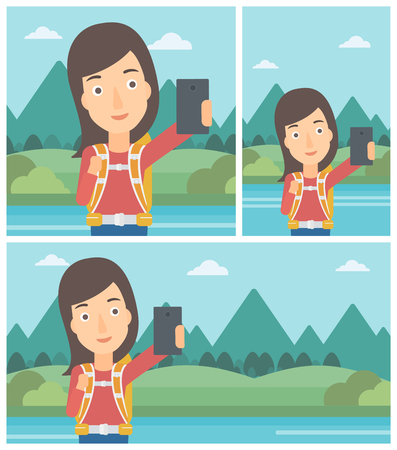woman cellphone: Young woman making selfie on the background of mountains. Travelling woman with backpack taking photo with cellphone. Vector flat design illustration. Square, horizontal, vertical layouts.